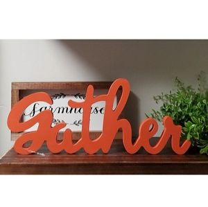 Gather Sign for Farmhouse Fall Decor in Orange